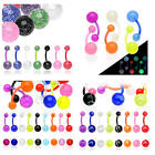 FLEXI Acrylic Ball Belly Navel Bar No Metal Body Piercing Jewellery UK SELLER