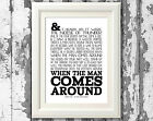 Johnny Cash Song Lyric Poster The Man Comes Around Music Typography Print Only