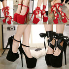 Womens Super Platform High Heels Lace Up Ankle Strappy Party Club Shoes US4-9