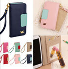 Bird PU Leather Wallet Card Holder w/ Strap Flip Case Cover For Samsung Galaxy