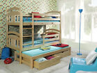 Triple Sleeper BUNK BEDS Solid WOODEN Pine  CHILDRENS Furniture MATTRESSES White