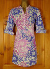 NEW EXCHAINSTORE PINK PURPLE WHITE FLORAL PRINT COTTON TUNIC BLOUSE SHIRT TOP