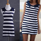 Sexy Women Vogue Casual Stretch Sailor Collar Sleeveless Slim Striped Dress