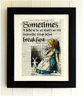 ART PRINT ON OLD ANTIQUE BOOK PAGE *FRAMED* Alice in Wonderland Quote, Breakfast
