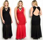 PLUS SIZE Dress Black/Red MERMAID SEQUIN Lace Backless Long Formal  1X/2X/3X