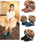 *US SHIP* Women Winter Warm High Long Snow Ankle Boots Faux Fox Fur tassel Shoes
