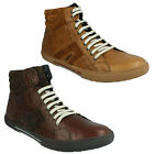 MENS WORLD LACE UP ROUND TOE STITCH DETAIL LEATHER HI TOP TRAINERS BASE LONDON