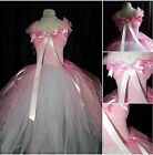 Girls Pink Princess dress ballgown Prom Bridesmaids dress Flower girl  wedding