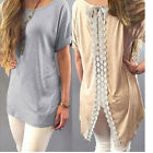 Women Fashion Vest Short Sleeve Blouse Casual Tank Tops T-Shirt Lace Pullover