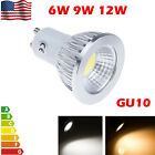 GU10 6/9/12W Dimmable LED COB Spotlights Lamps Warm Cool White 110V Ultra Bright