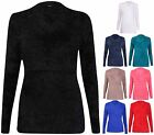 Womens Long Sleeve Ladies Stretch Fluffy Knitted V Neck Plain Sweater Jumper Top