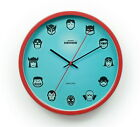 Wanduhr Comic Helden Analog Legenden Uhr Blau Metallrahmen Ø30cm Kinder Geekcook