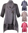 Womens Turn Up Sleeve Ladies Mohair Knitted Lined Made In Italy Long T-Shirt Top