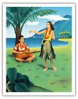 Hula Dancer GUITAR Korthals 1940s Vintage Hawaiian Travel...