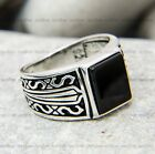 Hand made finish mens ring with Onyx stone -Sterling Silver ring 925