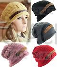 Womens Ribbed Chunky Knit Ladies Beret Hats Knitted Hats Crochet Wool Beanie Hat