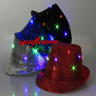 LED Light Flashing Adult Mens Ladies Sequin Trilby Fedora Hat Jazz Hat Cap
