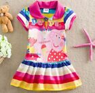 2015 New Baby Kids Peppa Pig Rainbow Striped Skirt Dress Tunic Clothes