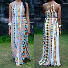Women Sexy Geometric print patchwork sleeveless Party maxi formal cllub Dress