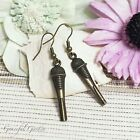ER2914 Graceful Garden Vintage Style Bronze Tone Microphone Charm Earrings