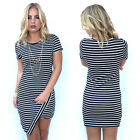 Fashion Women's Summer Short Sleeve Bodycon Slim Sundress Party Short Mini Dress