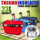 INSULATED THERMAL BASKET 23L PICNIC STORAGE TOTE MARKET COLLAPSIBLE BAG SHOPPING