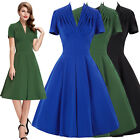 Vintage Style Women 50s 60s Office Evening A LINE Housewife Dress New