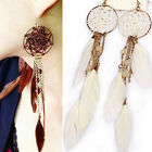 Fashion Bohemia Ethnic Feather Bead Long Design Dream Catcher Earrings for Women