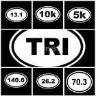 5~140.6 Ironman Triathlon Sticker Car Window Decal Vinyl White Oval Marathon Run