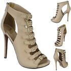 Trendy ankle boot Peep Toe Caged Booties Stiletto High Heel Sandals Pumps H14