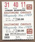 1969 ALCS ticket Baltimore Orioles Minnesota Twins Gm 3 Jim Palmer Wins Clincher