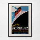 Union Lines TRAVEL POSTER - Nautical Travel Poster - Vintage Boat Poster, Cruise