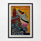 NAUTICAL TRAVEL POSTER - Havre, Plymouth, New York Travel Poster - Vintage Boat