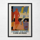 Art Deco TRAVEL POSTER - Dover to Ostend Travel Poster - Vintage Boat Poster, Cr
