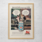 VINTAGE BOOTH'S GIN Ad - Retro Gin Ad - Bar Poster, Barware Wall Art, Retro Boot
