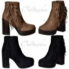 Womens Girls Tassel Fringe Suede High Block Heel Ankle Boot Black Taupe Size New