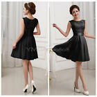 Women Lace Hollow Sleeveless Slim Chiffon Formal Cocktail Mini Party Short Dress