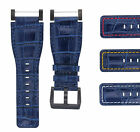 24MM SUUNTO CORE LEATHER WATCH BAND STRAP WITH ADAPTER BLUE PVD TOP QUALITY image