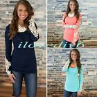 NEW Women's Lady Long Sleeve Lace Tops O Neck Summer Casual Shirt Tops Blouse