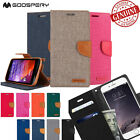 Goospery Canvas Card Flip Leather Wallet Case Cover for iPhone Galaxy S Note LG