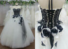 Gothic Lace Quinceanera Wedding Dress Flower Pageant Ball Gown Bridal Prom Dress