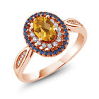 1.30 Ct Oval Checkerboard Yellow Citrine 18K Rose Gold Plated Silver Ring