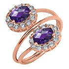2.28 Ct Oval Checkerboard Purple Amethyst 18K Rose Gold Plated Silver Ring