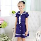 New Girls Sailor Dress Cotton Navy Cute Casual Party Dress Short Sleeves SZ 0-6