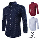 HotMen's Casual Long Sleeve Europe Style Shirts Cotton Anchor Hook Printed Tops