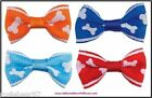 Aria NIP RIBBON BONE PRINT DOG HAIR GROOMING HOLIDAY BOW CLIP BARRETTE ~ U Pick