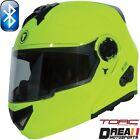 TORC T27B BLUETOOTH GLOSSY HI VIZ YELLOW BLACK SOLID MOTORCYCLE HELMET DOT XS-XL
