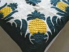 """Hawaiian quilt HANDMADE BEDSPREAD wall hanging 100% hand quilted/appliqued 80"""""""