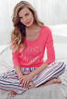 LIPSY LADIES PINK DIAMANTE DREAMER STRIPED FULL LENGTH PYJAMAS UK SIZES 8-14