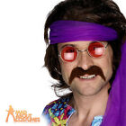 70s Self Adhesive Tash Brown Mens Fancy Dress Outfit Moustache Accessory